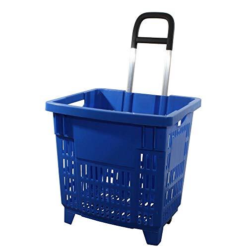 GERSO Einkaufstrolley 55 Liter blau mit Rollen ABS-Kunststoff Einkaufskorb fahrbar bunt