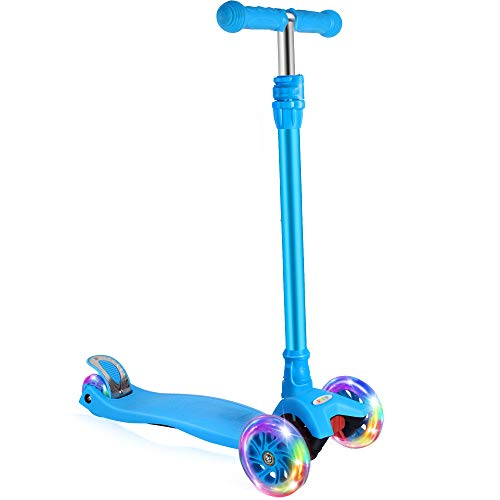 BELEEV Kick Scooter for Kids 3 Wheel Scooter for Toddlers Girls & Boys, 4 Adjustable Height, Lean to...