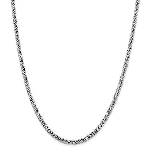 Diamond2deal 14K bianco oro 4.30mm semi Solid Wire frumento catena collana 50,8cm
