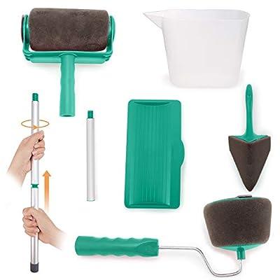 Venustas Paint Roller Brush Kit 8 Pcs Paint Runner Pro Brush Handle Flocked Edger Room Wall Printing for Home Office