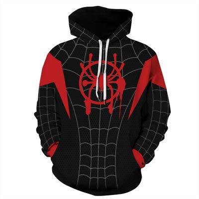 Sudadera con Capucha y Cremallera Spider-Man Impresión 3D Top Base Layer Gym Manga Larga Unisex Spiderman Hooded Miles Morales para Halloween Carnival Festival-5XL