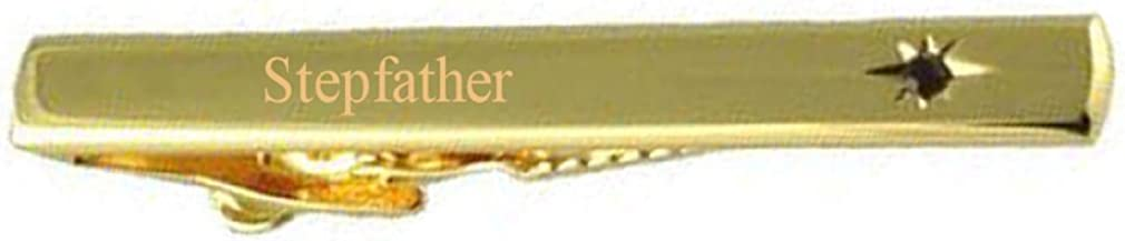 Select Gifts Stepfather Wedding Title Gold Tie Clip Bar Red Ruby Crystal in Pouch