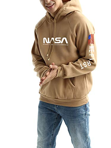 Men's Cool Nasa Hoodie Yellow Cute Funny Novelty Plain Pullover Sweaters