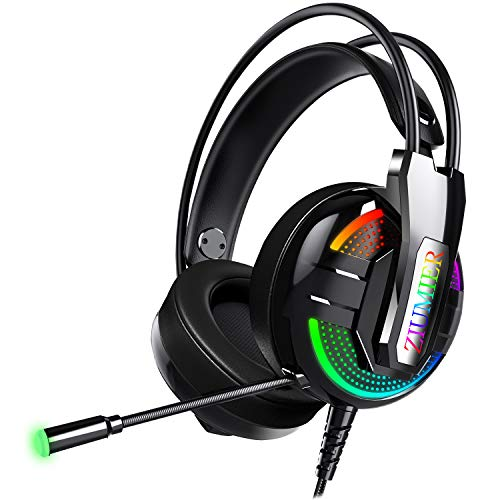 ZIUMIER Gaming Headset Xbox One Headset, PS4 Headset with Noise Canceling Mic and RGB Light, Wired PC Headset with Stereo Surround Sound, Over-Ear Headphones for PC, PS4, Xbox One, Laptop