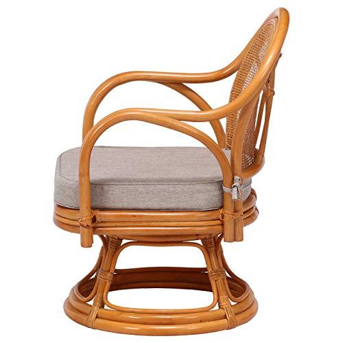 不二貿易回転座椅子ナチュラル肘付き籐ラタン座面高さ34cm完成品85341