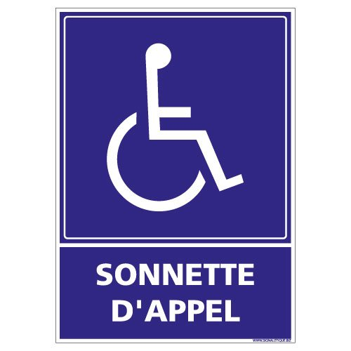 Adhésif - Sonnette d'Appel Rampe d'Accès - Dimensions 150 x 210...