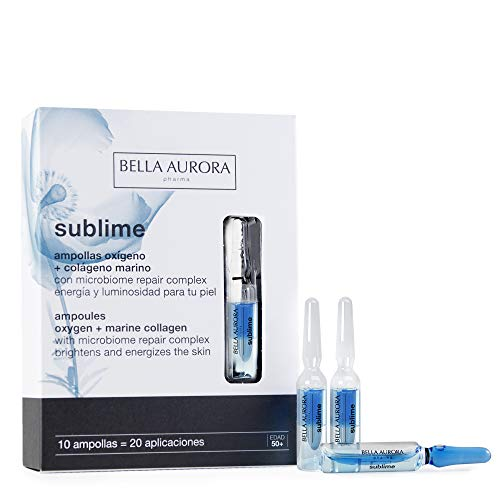 Bella Aurora Ampollas Colágeno Marino para Pieles Faciales Apagadas y Fatigadas, Ampollas, Anti-Edad, Anti-Arrugas, Todo Tipo de Pieles 50+ Años, Sublime, Azul, 10 Unidades