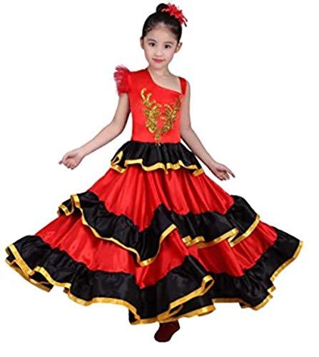 SMACO Mädchen Rote spanische Flamenco-Kleid Bauchtanz-Kostüm-Bauchtänzerin Kleid-Leistungs-Wettbewerb Kostüm,360°,100CM