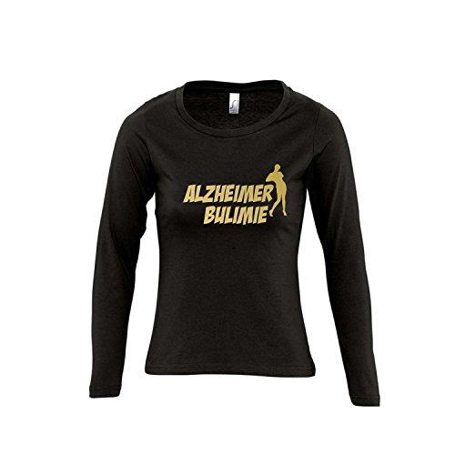 ALZHEIMER BULIMIE - FUN KULT SHIRT - Damen Langarm Longsleeve T-Shirt S-XL , Deep black - gold , XL