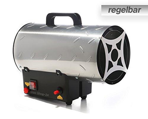 Edelstahl Gasheizgebläse/Heizgebläse mit Regulierung max. 15 kW + Gasschlauch u. Druckminderer(Heizer, Heizkanone, Hallenheizung, Zeltheizung, Gas Heizung, Heizlüfter, regelbar)