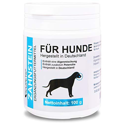 Vicupets® 𝗭𝗮𝗵𝗻𝘀𝘁𝗲𝗶𝗻𝗳𝗿𝗲𝗶 - Zahnstein 100g Pulver für Hunde - Zahnpflege Hunde - gegen Mundgeruch bei Hunden