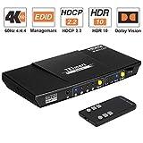 TESmart 4x1 HDMI Switch 4K Conmutador HDMI 4 Entradas 1 Salida de Caja HDMI Switcher con IR Remote Auto 2.0/5.1 Salida de Audio, Soporte 4K @60Hz Full HD1080P 3D para Xbox One, PS4/PS3, TV (Negro)