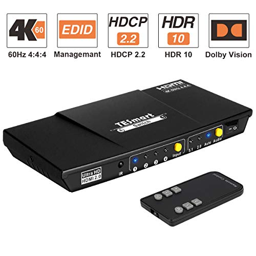 HDMI Switch 4x1 TESmart Ultra HD 4 Ports Umschalter unterstützt 4K@60Hz 4:4:4 mit automatischem Umschalter und drahtloser IR-Fernbedienung für Xbox/PS 4/Roku/Blu-Ray-Player/Fire Stick/HDTV-Mattschwarz