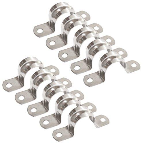 Preisvergleich Produktbild Versandbox24 10 Stück Rohrschelle 20 mm Edelstahl Bügelschelle Doppellasche U Schelle Rohr Halterung A2