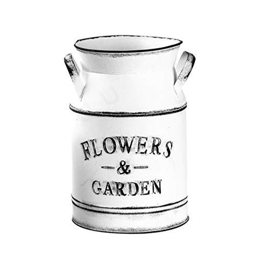 Hemoton Vintage Blumenvase Eisen Blumentopf Milchkanne Landhausstil Deko Vase Rustikal Blumeneimer Metall Eimer Übertopf Dekovase Kaktus Topf für Garten Wohnzimmer Tischdeko
