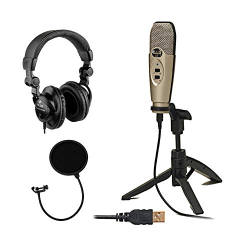 CAD U37 USB Studio Condenser Recording Microphone (Champagne) with Polsen HPC-A30 Monitor Headphone...