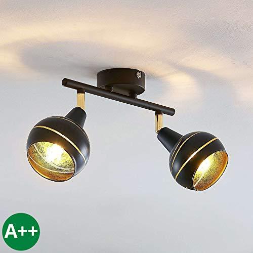Lampenwelt Strahler 'Lynette' dimmbar (Modern) in Schwarz aus Metall u.a. für Wohnzimmer & Esszimmer (2 flammig, E14, A++) - Deckenlampe, Deckenleuchte, Lampe, Spot, Wohnzimmerlampe