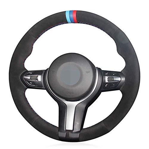 JIRENSHU Schwarzes Leder Auto Lenkradbezug, für BMW M Sport F30 F31 F34 X1 F07 F10 F11 X2 F25 F32 F33 F36 X3 F48 F39