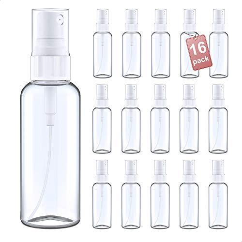 LG Luxury & Grace Pack 16 Botellas de Spray, 60 ml. Botes Pulverizadores de Polietileno Transparente. Botellas Rellenables para Viajes. Envases Atomizadores para Perfumes y Cosméticos.