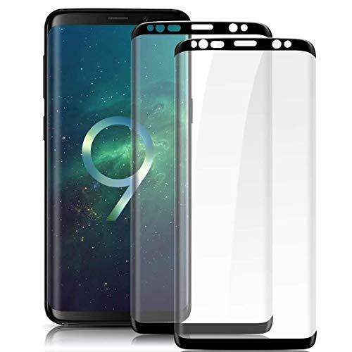 WHJC Galaxy S9 Panzerglas schutzfolie, [3 Stück] 3D Full Cover Panzerglasfolie für Galaxy S9,9H Härte,Anti-Kratzer, Anti-Fingerabdruck,Displayschutzfolie für Galaxy S9 (Schwarz)