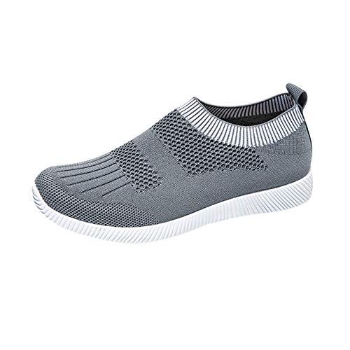 Xmiral Sneakers Damen Einfarbig Sportschuhe Atmungsaktives Netz Schlüpfen Schnellverschluss Sommerschuhe(39,Grau)