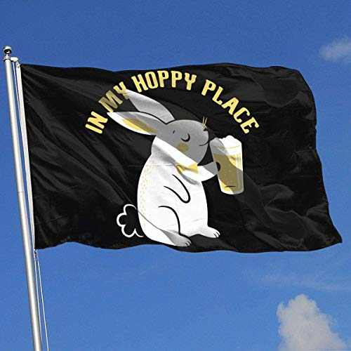 Oaqueen Flagge/Fahne in My Hoppy Place Breeze Flag 3 X 5-100% Polyester Single Layer Translucent Flags 90 X 150CM - Banner 3' X 5' Ft