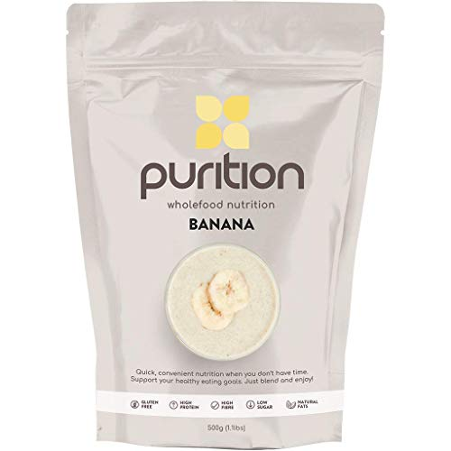 Purition Banana Natural Protein Powder for Keto Diet Shakes and Meal Replacements Shakes With Only Natural Ingredients, 1 Bag (12 Servings)