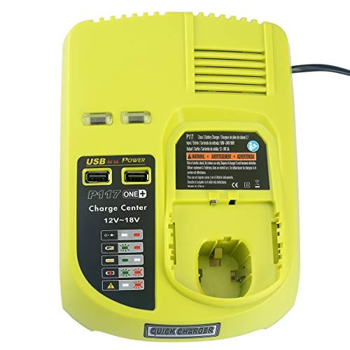 Lasica P117 Dual Chemistry Battery Charger W/2USB Port Replacement for Ryobi 18V Charger ONE+ P118 P119 Compatible with Ryobi 12V 14.4V 18V Lithium-Ion NiCad & NiMh Battery P107 P102 P104 P105 P108
