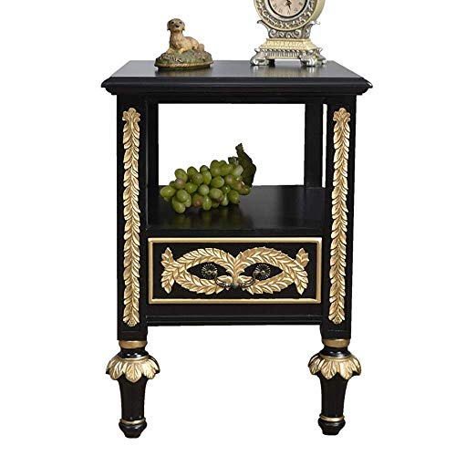Stylish Simplicity Side Table Vintage Bedroom Bedside Table Hand Painted Carved European Living Room Nightstand Storage Cabinet Side Lockers for Bedroom, DTTX001, Green, 45x50x63cm