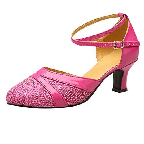 Deloito Damen Mode Elegant Ballsaal Tango Latein Salsa Tanzschuhe Party Hochzeit Sozial Pailletten Schuhe Weicher Boden Spitze Absätze Tanzschuh (Pink,39 EU)