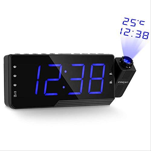 xzndv Reloj Despertador de Radio Digital, Pantalla LED de Temperatura de Temporizador de repetición de proyección, Cable de Carga USB de 180 Grados, Reloj de Radio de Pared de Mesa FM Pulgadas Azul