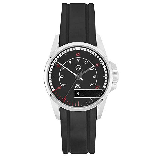 Mercedes Reloj de pulsera para hombre Actros de Benz, color negro/rojo, 42 mm, carcasa de acero inoxidable, correa de silicona
