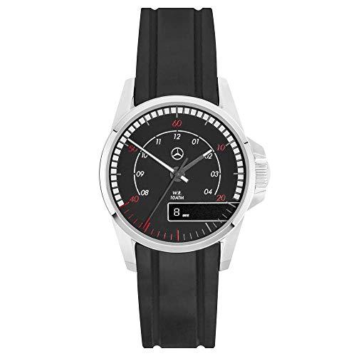 Mercedes Benz, orologio da polso originale da uomo, ACTROS, nero, rosso, 42 mm, cassa in acciaio inox, cinturino in silicone