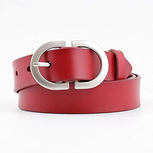 ZXMDP 2021 New Desinger Cinturón de Cuero Ancho Negro Rojo marrón para Mujer Cinturones con Hebilla Plateada para Hombre y Mujer Pantalones Vaqueros para Hombre, Rojo, 115 cm