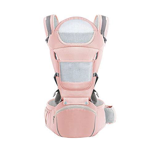 KSWX Porta Bebè Sgabello da Bambino in Cotone Marsupio manufatto Multifunzionale per Neonati Adatto per Gite in Famiglia nel Parco e Altre Scene,Pink