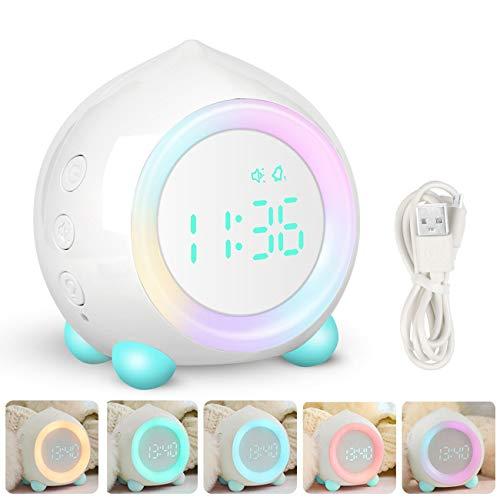 Digitaler Wecker Kinder, Kinderwecker Digitaler,LED Wecker 7 Farbwechsel Nachtlicht Tischuhr Digitaluhr mit Datum, Temperatur, Snooze für Mädchen Jungen (Weiß)