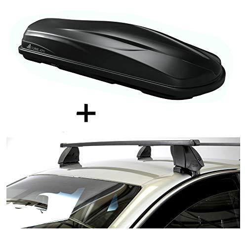 VDP Dachbox CUBE470 470 Liter schwarz glänzend + Dachträger K1 MEDIUM kompatibel mit Nissan Juke (5Türer) ab 10