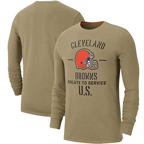 Männer NFL Pullover Cleveland Browns Team-Logo Leichtathletik Fashion Jersey Football Super Bowl-Fan-T-Shirt S-3XL Für Die Jugend Khaki-S