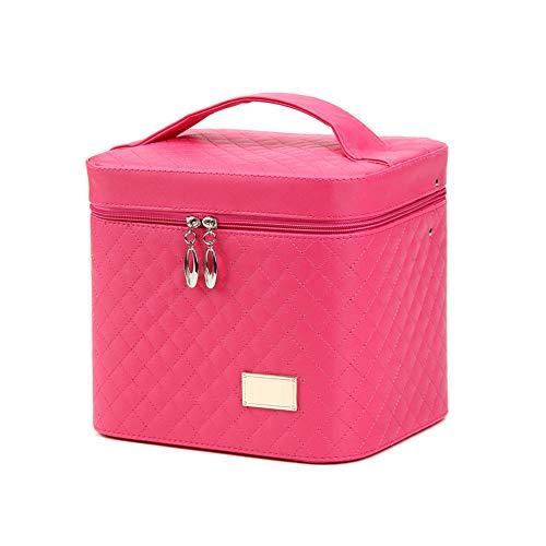 Mode Cosmetic Case double couche PU femmes cosmétiques cas de grande capacité Voyage main portable Maquillage Held Boîte Rose Rouge