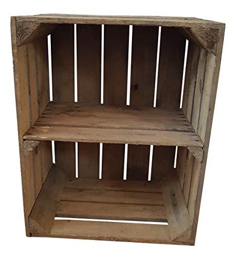 Vintage / used Holzkisten Apfelkisten Obstkisten mit Zwischenbrett quer 50x40x30cm | Ideal als Garagenregal rustikal Wandregal Aufbewahrungsbehälter Aufbewahrungsbox Holzregal Shabby Chic (1er)