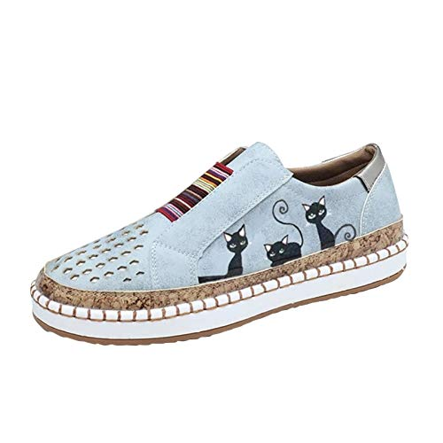 URIBAKY - Zapatillas de ocio para mujer, transpirables, para exteriores, para running, correr, fitness, transpirables, zapatillas de deporte, Gris (gris), 41 EU
