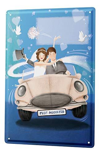 LEotiE SINCE 2004 Blechschild Just Married Deko frisch verheiratet Auto Wand Poster Metall Schild 20x30 cm Vintage Retro Wanddekoration