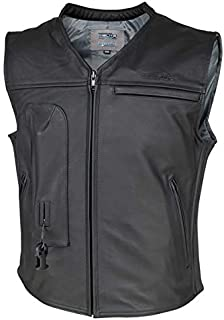 Helite CUSTOM Leather Motorcycle Vest - XL Black
