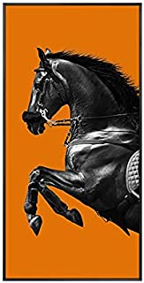 paintings 1 panneau sur toile avec gravure cheval - Art mural - Décoration d'intérieur moderne - Couleur : argent - Dimens...