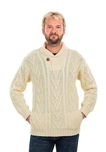 SAOL 100% Merino wol mannen sjaal kraag enkele knop trui, in natuurlijke/houtskool/leger groen/marine