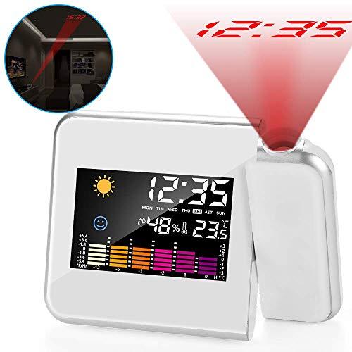 ASANMU Wecker mit Projektion, LED Digital Projektionswecker USB Aufladbar Wecker/Taktgeber Temperaturanzeige/Hygrometer/Uhrzeit & Datumsanzeige/LCD Displaybeleuchtung/LED Backlight/Snooze (Weiß)