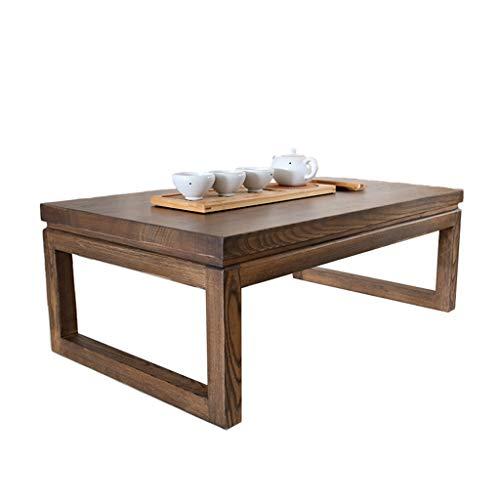 Tables Basse Vieux Tatami en Orme Basse Baie Vitrée Basse Japonaise Balcon Petite Basse Salon Simple À Thé Basses (Color : Brown, Size : 60 * 40 * 30cm)