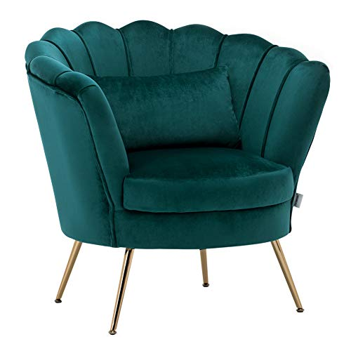 WamieHomy Armchair Velvet Upholstered Lotus Oyster Shell Occasional Tub Chair for Living Room Bedroom Reception Contemporary (Green)