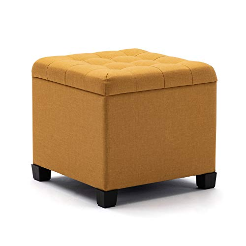 HNNHOME Puffe Reposapiés otomano, caja de almacenamiento, cubo de 45 cm, estructura de madera fuerte, taburete de lino para sala de estar,...