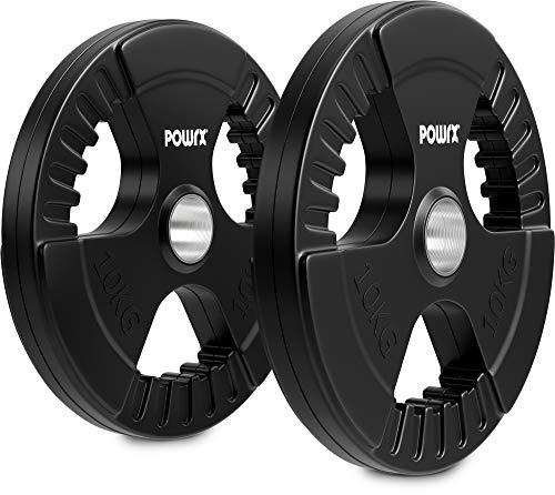 POWRX Discos olímpicos 20 kg Set (2 x 10 kg) - Pesas Ideales para Mancuernas y Barras olímpicas con diámetro 51 mm (Negro)